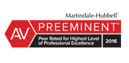 Peer rated for Highest Level of Professional Excellence 2016